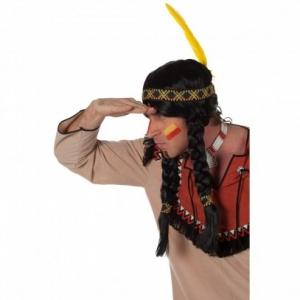 Perücke Indianer mit Stirnband