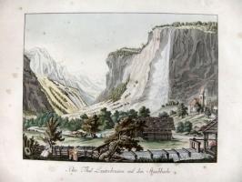 Radierung Lauterbrunnental mit Staubbach (kaufen)